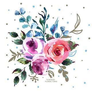 Letni kwiatowy kartkę z życzeniami, bukiet ślubny, różowe róże, kwiaty, gałązki, liście, pąki