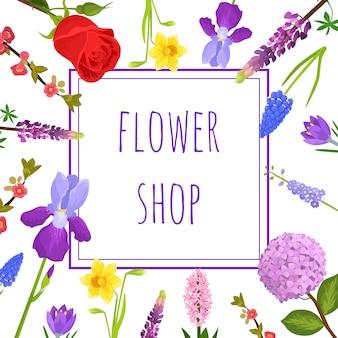 Letni kwiatowy kartkę z życzeniami lub kwiaciarnia z kwitnącymi kwiatami ogrodowymi,