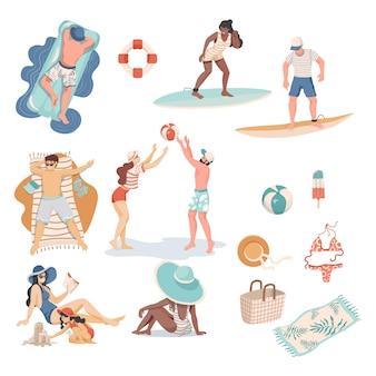 Letni ludzie i przedmioty płaska ilustracja. ludzie w strojach kąpielowych wykonujący letnie zajęcia.