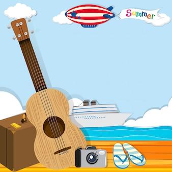 Letni motyw z obiektami wycieczkowymi i podróżnymi