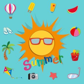 Letni motyw ze słońcem i przedmiotami