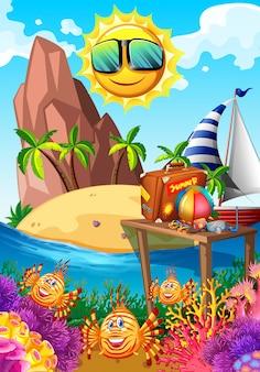 Letni motyw ze słońcem i wyspą