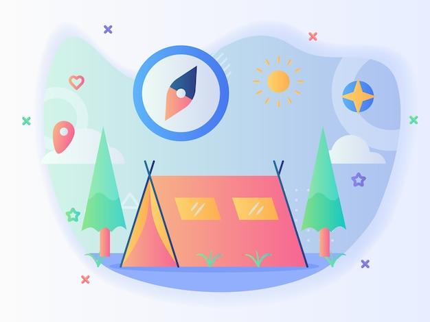 Letni namiot kempingowy koncepcja kompasu drzewo słońce z płaskim stylem