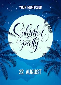 Letni napis z nocnym niebem, księżycem i palmą. szablon plakatu, ulotki, zaproszenia, druku, banera. baner z nowoczesną kaligrafią. plakat na imprezę w klubie nocnym. .