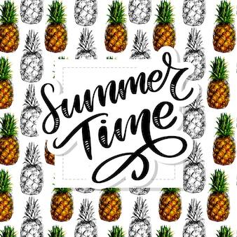 Letni napis z wzorem ananasa