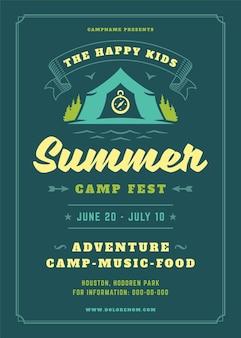Letni obóz dla dzieci plakat lub ulotka szablon projektu typografii retro