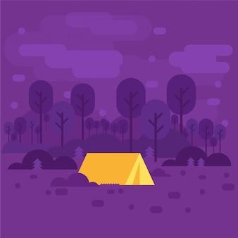 Letni obóz nocny tło z minimalną grafiką wektorową otoczenia namiotu fioletowy żółty płaski wektor