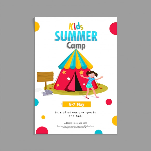 Letni obóz plakat, ulotki lub banner projektu