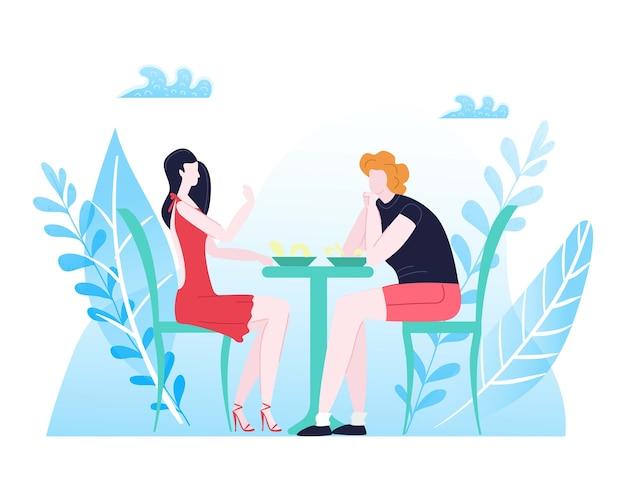 Letni odpoczynek, kompozycja miłosna dla par, szczęśliwy człowiek, romantyczna oprawa, kolacja dla dwojga, ilustracja. młodzi ludzie spędzają razem czas, romansujący facet i dziewczyna siedzą przy stole.