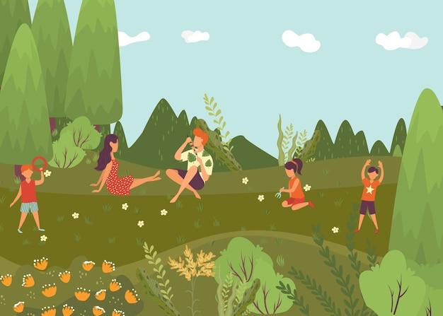 Letni odpoczynek w lesie, jasna kompozycja, kolorowa przyroda krajobrazowa, zielona turystyka plenerowa, ilustracja. podróżuj wśród roślin i drzew, słoneczne wakacje, ludzie siedzą na łące.
