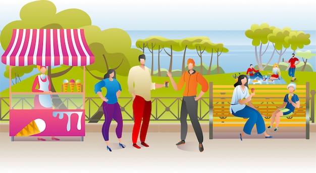 Letni odpoczynek w parku, kobieta mężczyzna ludzie chodzą z uliczną ilustracją żywności. szczęśliwy wypoczynek natury z lodami, miejski styl życia. koncepcja zielonego krajobrazu, rekreacja na ławce.