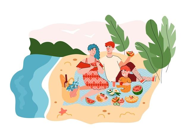 Letni piknik rodzinny tło z odpoczywającymi dorosłymi i dzieckiem