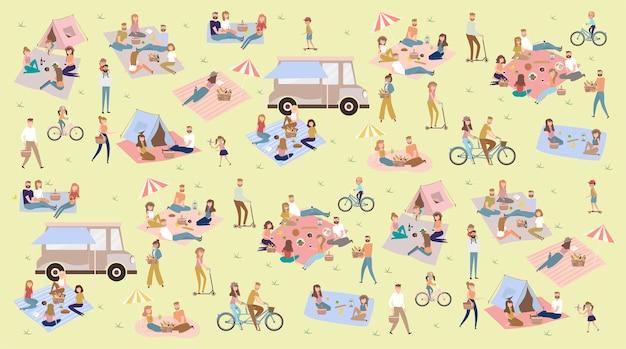 Letni piknik z aktywnymi rodzinnymi wakacjami z dziećmi, parami, rodzinami wypoczywającymi na naturze, jeżdżącymi na rowerach