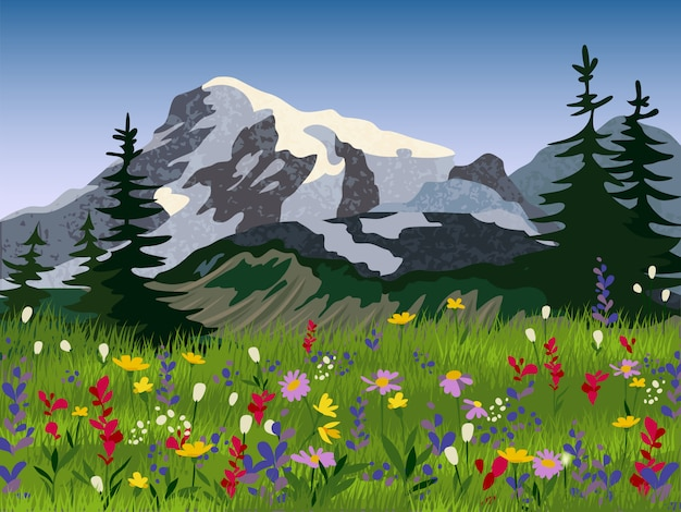 Letni Plakat Alpejski Medow Krajobraz Darmowych Wektorów