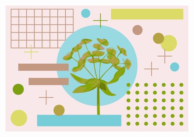 Letni plakat artystyczny z kwiatem i przedmiotami grometrycznymi