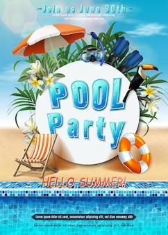 Letni plakat imprezowy impreza przy basenie z nadmuchiwanym pierścieniem orientacja pionowa