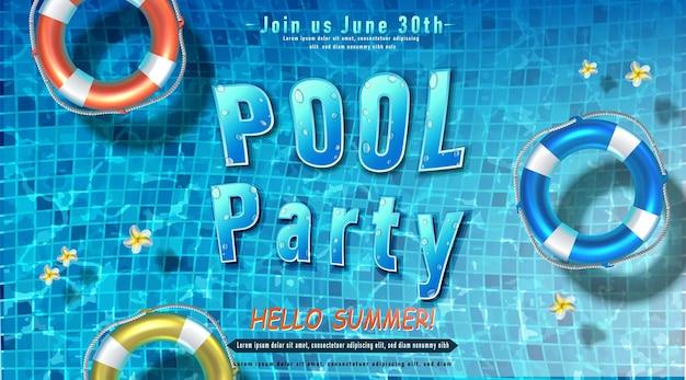 Letni plakat imprezowy impreza przy basenie z nadmuchiwanymi pierścieniami w wodzie