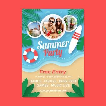 Letni plakat pionowy szablon w stylu papieru ze zdjęciem