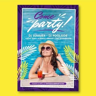 Letni plakat pionowy szablon ze zdjęciem