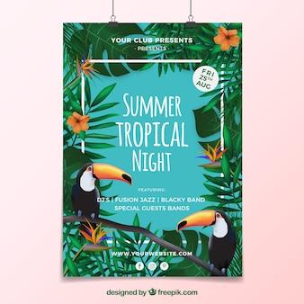 Letni plakat tropikalnych imprez