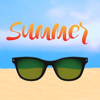 Letni plakat z napisem i plaża z okularami przeciwsłonecznymi