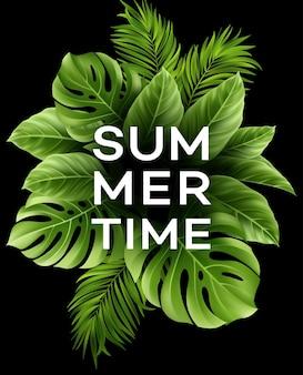 Letni plakat z tropikalnym liściem palmowym.