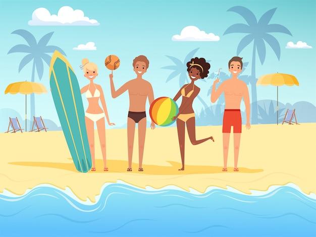 Letni podróżnicy. męscy i żeńscy szczęśliwi ludzie bawić się przy lata słońca plażą blisko oceanu lub morza tła