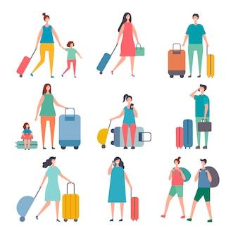 Letni podróżnicy. stylizowane postacie szczęśliwych ludzi jeżdżą na wakacje