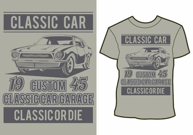 Letni projekt koszulki klasyczny, vintage, retro samochód na plaży