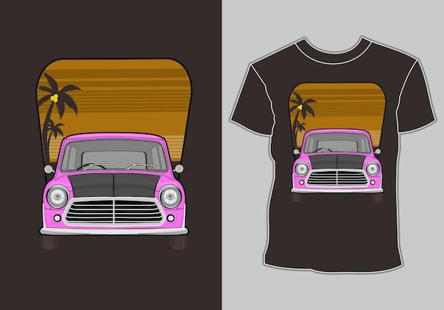 Letni projekt koszulki, samochód na wakacjach na plaży