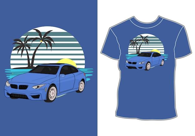 Letni projekt koszulki, samochód sedan na wakacjach na plaży