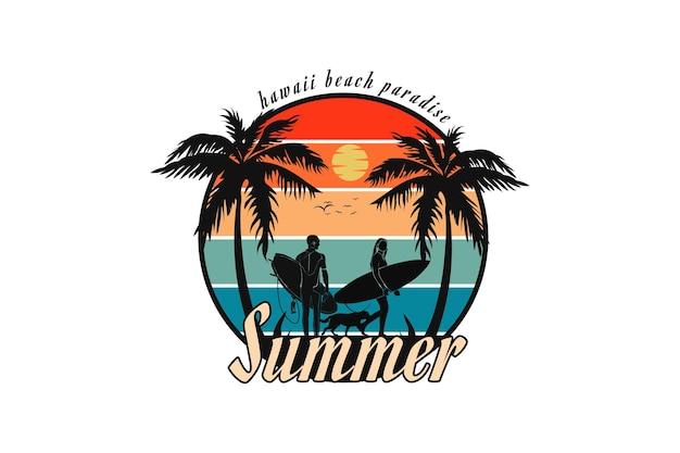 Letni raj na plaży na hawajach, projekt w stylu retro.