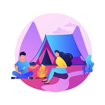 Letni relaks na kempingu. letni wypoczynek, piesze wycieczki, turystyka górska. backpackers odpoczywają w pobliżu namiotu, jedzą przekąski przy ognisku. wakacje na świeżym powietrzu.