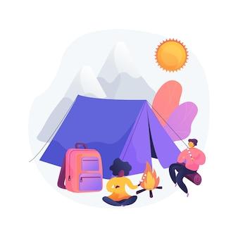 Letni relaks na kempingu. letni wypoczynek, piesze wycieczki, turystyka górska. backpackers odpoczywający w pobliżu namiotu, jedzący przekąski przy ognisku. wakacje na świeżym powietrzu.
