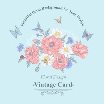 Letni rocznik kwiatowy bukiet. kartkę z życzeniami z kwitnących czerwonych maków rumianek biedronka stokrotki chabry trzmiel pszczoła i niebieskie motyle.