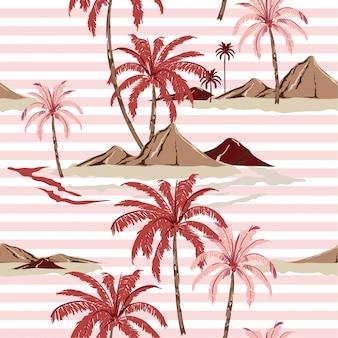 Letni słodki bez szwu tropikalna wyspa wzór z jasnymi różowymi paskami