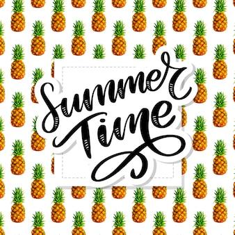 Letni slogan ananasowy, wzór akwareli