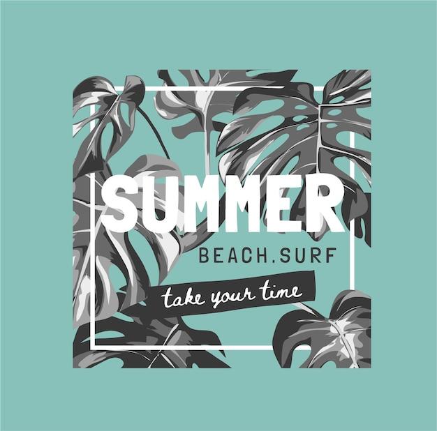 Letni slogan z czarno-białymi tropikalnymi liśćmi na zielonym tle do druku mody