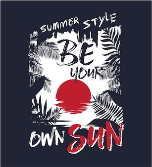 Letni slogan z tropikalnym liściem i słońcem