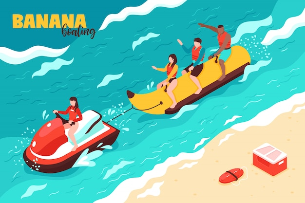 Letni sport wodny izometryczny z grupą ludzi na wakacjach, jazda na łódce bananowej