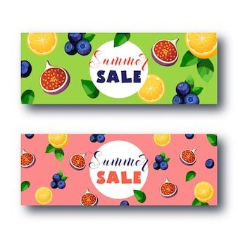 Letni sprzedaż transparent z jasnymi kolorowymi owocami