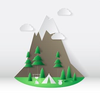 Letni styl cięcia papieru kempingowego. koncepcja z górą, drzewami. ilustracja wektorowa.