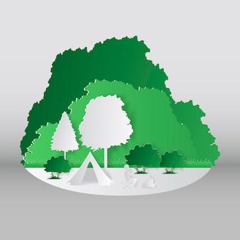 Letni styl cięcia papieru kempingowego. koncepcja z górą, drzewami, ludźmi na pikniku. ilustracja wektorowa.