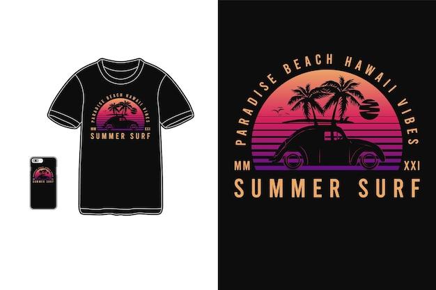 Letni surfing, t-shirt merchandise sylwetka w stylu retro lat 80-tych