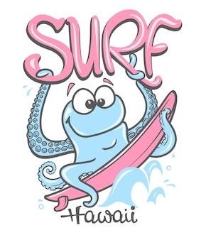 Letni surfing z ośmiornicą, nadruk na odzieży.