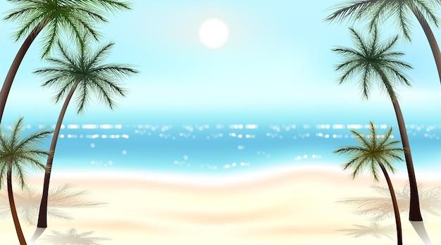 Letni szablon transparentu z tropikalnymi liśćmi