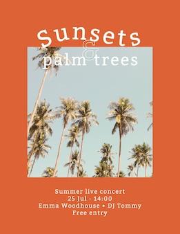 Letni szablon ulotki koncertowej z tropikalnym tłem