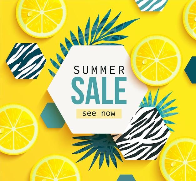 Letni sztandar sprzedaży z cytryną