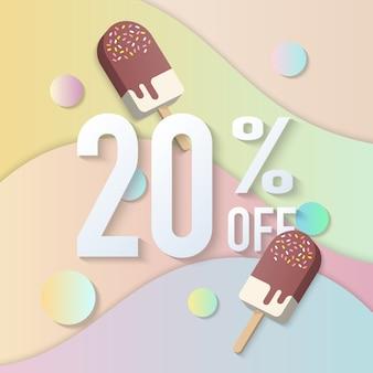 Letni sztandar sprzedaży z pastelowym kolorowym gradientem