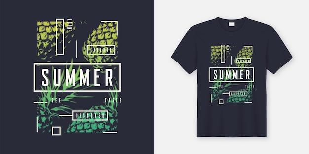 Letni t-shirt i odzież nowoczesny design z stylizowanymi ananasami, typografia, nadruk, ilustracja. globalne próbki.